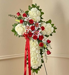 Red and White Standing Cross from Wyoming Florist in Cincinnati, OH