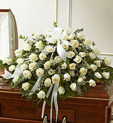 White Rose Half Casket Spray from Wyoming Florist in Cincinnati, OH